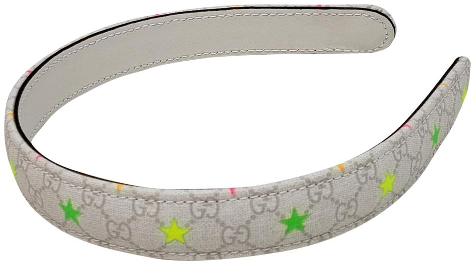 6eece321153 Gucci Girl s ivory multicolor Gucci GG web leather headband Image 0 ...
