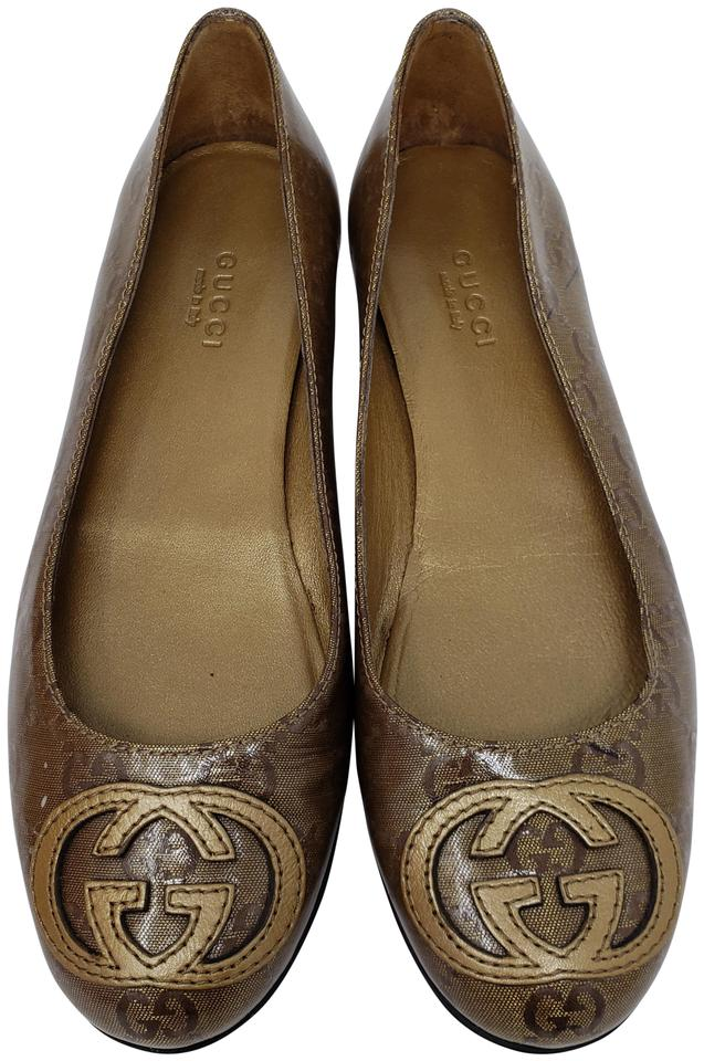 79e4fdafbffb8 Gucci Beige Brown Tan Gg Web Canvas Round-toe Flats Size EU 35 ...