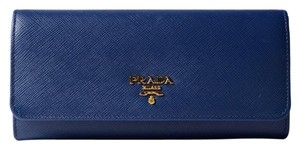 Prada Luxury Leather Wallet Navy Blue Clutch