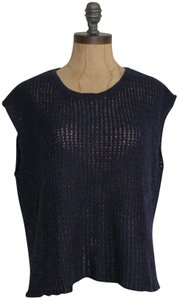 Eileen Fisher Organic Linen Split Back Knit Top BLUE