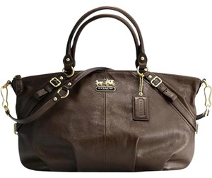 Coach Leather Gold Hardware Leather Satchel in Shimmer Brown