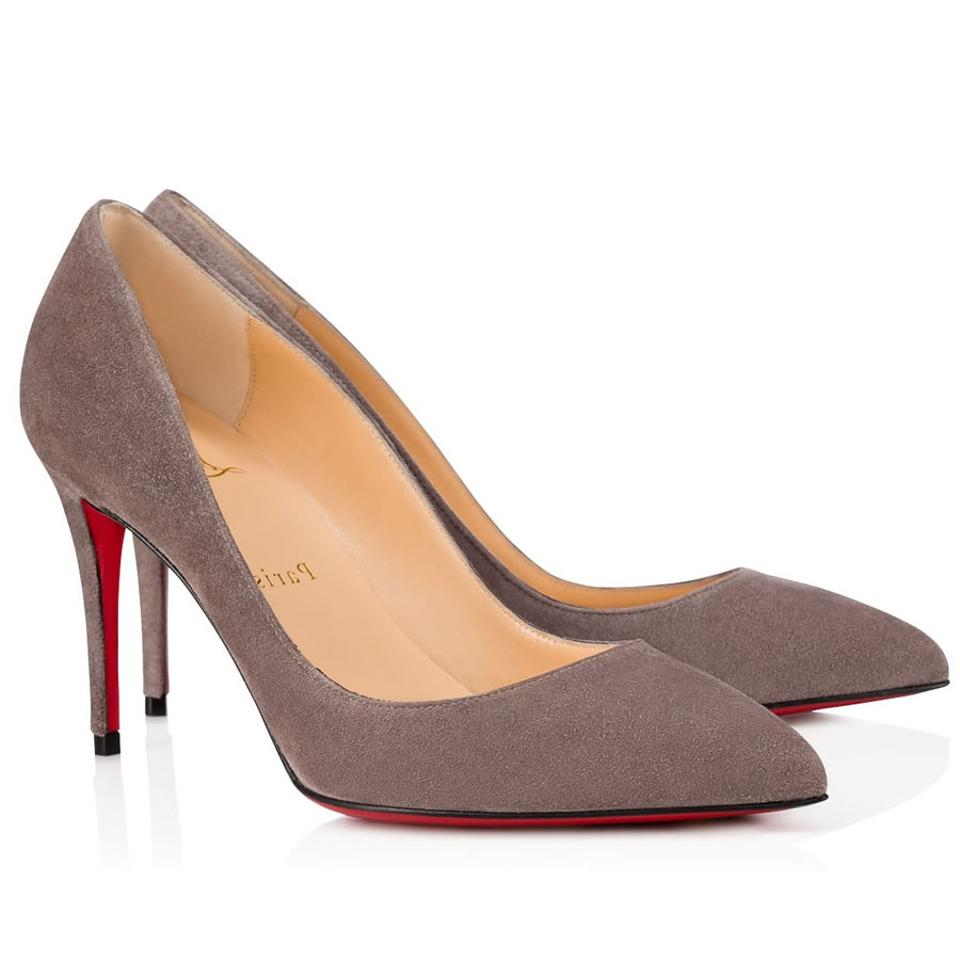 e5006b66b5 Christian Louboutin Grey Pigalle Follies 85 Storm Suede Classic Pointed Toe  Heel Pumps