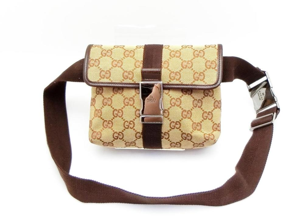 f68c56c48e9 Gucci Monogram Gg Fanny Pack Belt Pouch 228924 Brown Canvas Cross ...