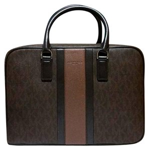 5717560471874b Michael Kors Mens Jet Set Medium Briefcase Brown Pvc Leather Laptop ...