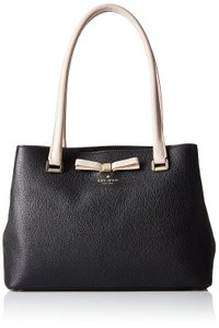 Kate Spade Small Maryanne Henderson Street Shoulder Pebbled Leather Tote in Black/Rose cloud