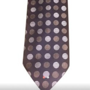 Balmain Brown and Cream Vintage Couture Silk Jacquard Tie/Bowtie