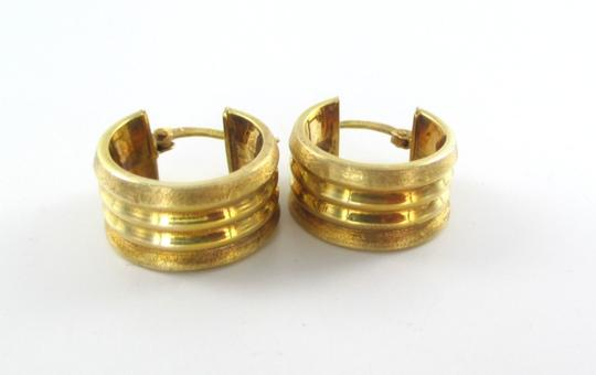 Other 14KT YELLOW GOLD EARRINGS RIBBED HUGGIES HOOP 3.7 GRAMS MADE ITALY MOTHERS DAY