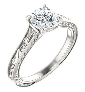 Apples of Gold White Scrollwork Design Topaz In Sterling Silver Engagement Ring