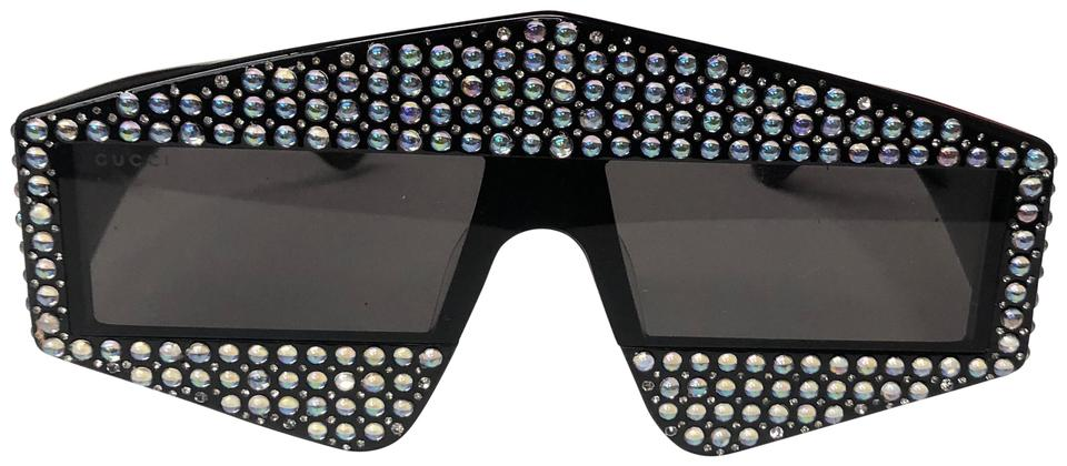298d60f1dc3 Gucci Black Rectangular-frame Acetate with Crystals Sunglasses - Tradesy