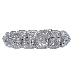 Avital & Co Jewelry 0.28 Carat Round Cut Diamond Vintage Fancy Bracelet 18K White Gold