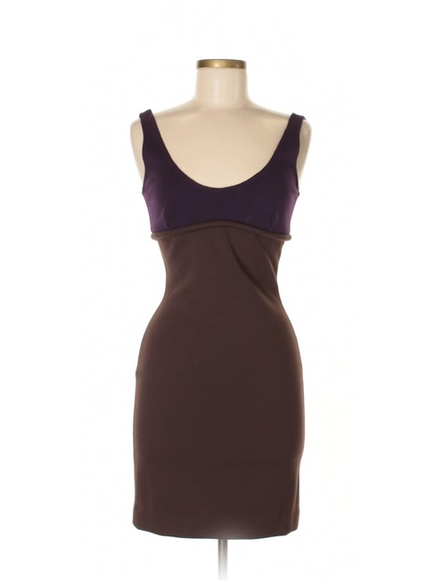 Item - Brown / Purple Bodycon Color Block Casual Mid-length Work/Office Dress Size 4 (S)