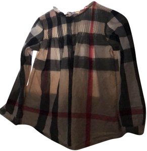 Burberry Top black, grey, beige and red colors. ruffles on the collar, buttons down on front. long sleeve with buttons in cuffs