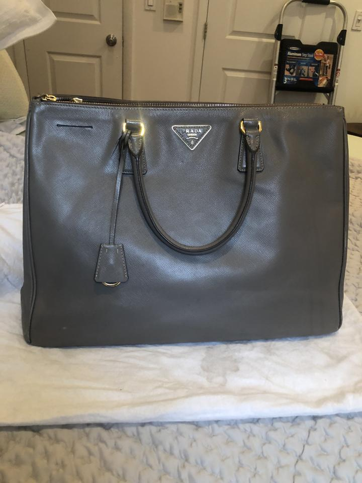 1a806b118533 Prada Galleria Double Lux Large Zip Grey Saffiano Leather Tote - Tradesy
