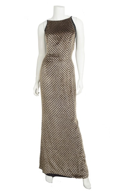 Escada Gold And Black Sleeveless Gown 38 Long Formal Dress Size 8 M