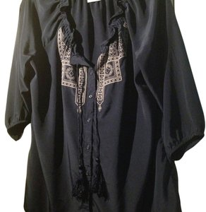Old Navy Tribal Festival Spring Embroidered Tassel Silky Flowy Top Boho Peasant Blue