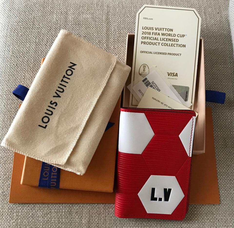 33ef1ea5bca6 Louis Vuitton Rare! Pocket Organizer Epi Leather Red White FIFA World Cup  2018 Image. 123456789101112