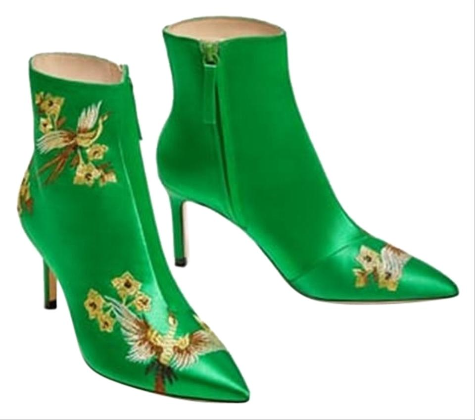 Zara Green Embroidered Satin High Heel Ankle Boots Booties Size Us Detail