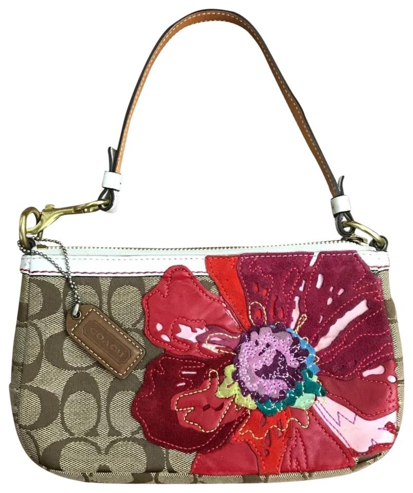 Coach signature poppy flower handbag tan red canvas clutch tradesy coach tan red clutch mightylinksfo