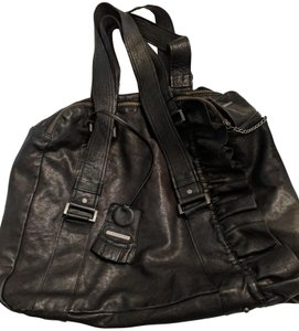 Anne Valérie Hash Purses Travel Leather Ruffled Leather Satchel in Black