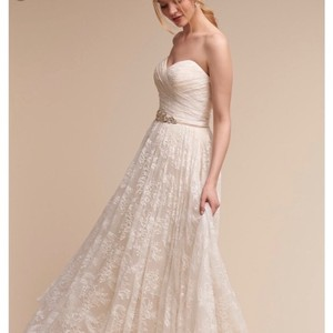 BHLDN Light Gold Ivory Lace And Tule Freesia Feminine Wedding Dress Size 8 M