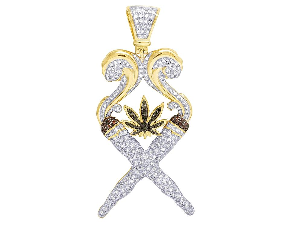 Jewelry Unlimited 10k Yellow Gold Diamond Marijuana Leaf Joint Fire Pendant  1 5ct Charm 71% off retail