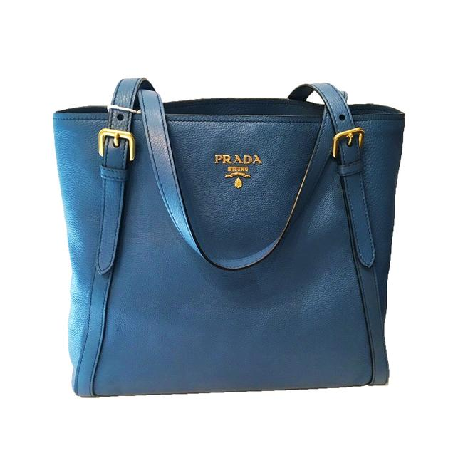 Prada Shopping Phenix Women's Cobalt Vitello 1bg064 Blue Leather Tote Prada Shopping Phenix Women's Cobalt Vitello 1bg064 Blue Leather Tote Image 1