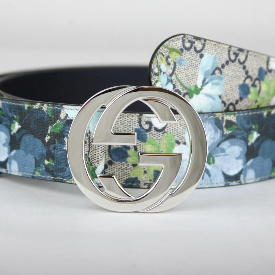 fde73db29f5 Gucci Beige Blue Men s Beige Blue Gg Supreme Bloom Floral Belt 100 40  411924 8499 Groomsman Gift