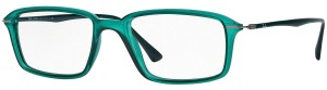 Ray-Ban Ray Ban Unisex Rectangle Eyeglasses RX7019 5243 Green Frame Demo Lens
