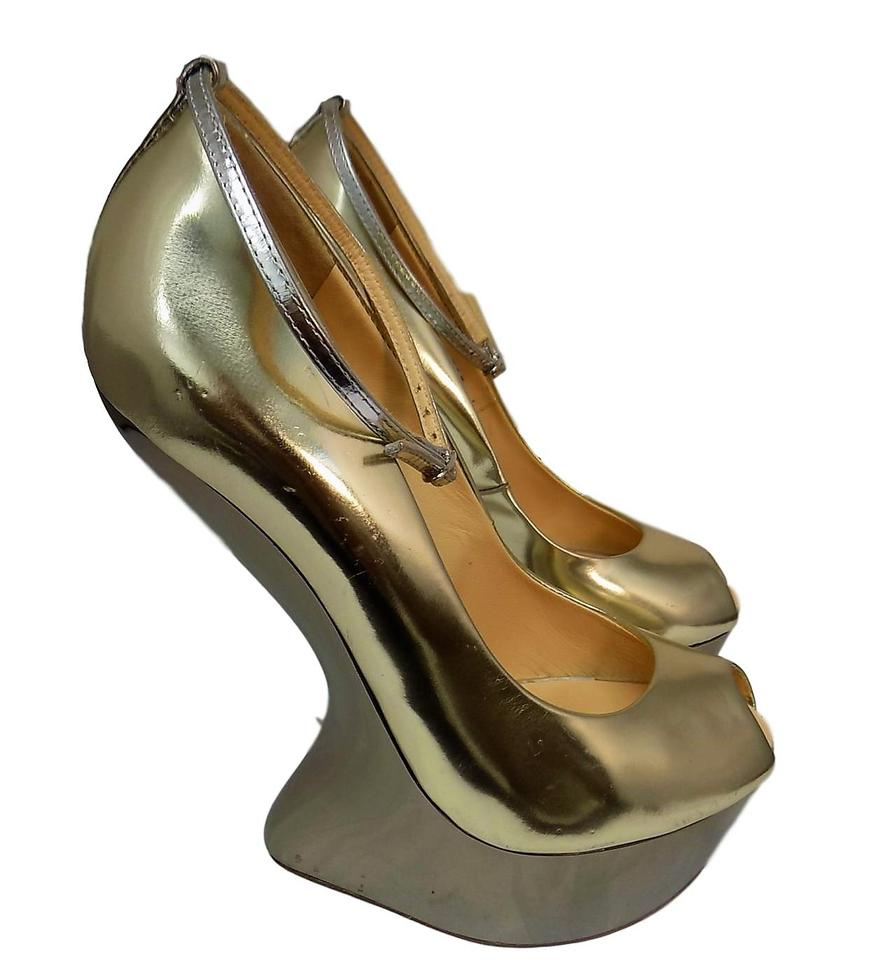 54ae2ca1a364f Giuseppe Zanotti Gold Silver Leather No Heel Platforms Wedges Size ...