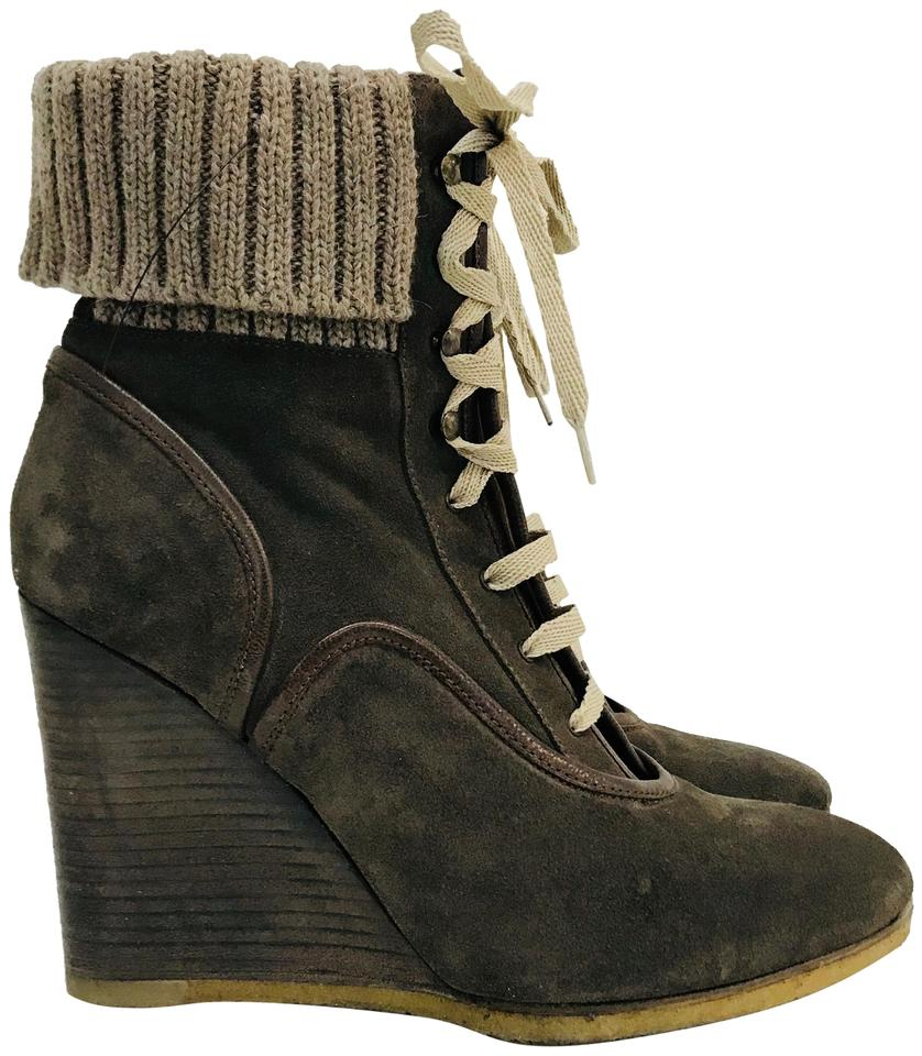81db515279723 Chloé Brown Suede Round-toe Wedge Ankle Boots Booties Size EU 38 ...