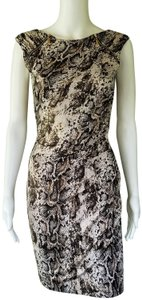 Cache Snakeskin Ruched Zippered Adjustable Dress