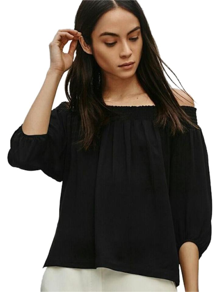 78716d3a29935 Aritzia Off The Shoulder Smocked Stretchy Top Black Image 0 ...