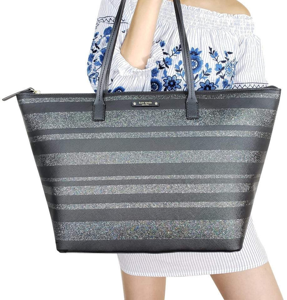 d3f2a20a7c0 Kate Spade Bag New York Large Hani Haven Stripe Glitter Black Grey Tote
