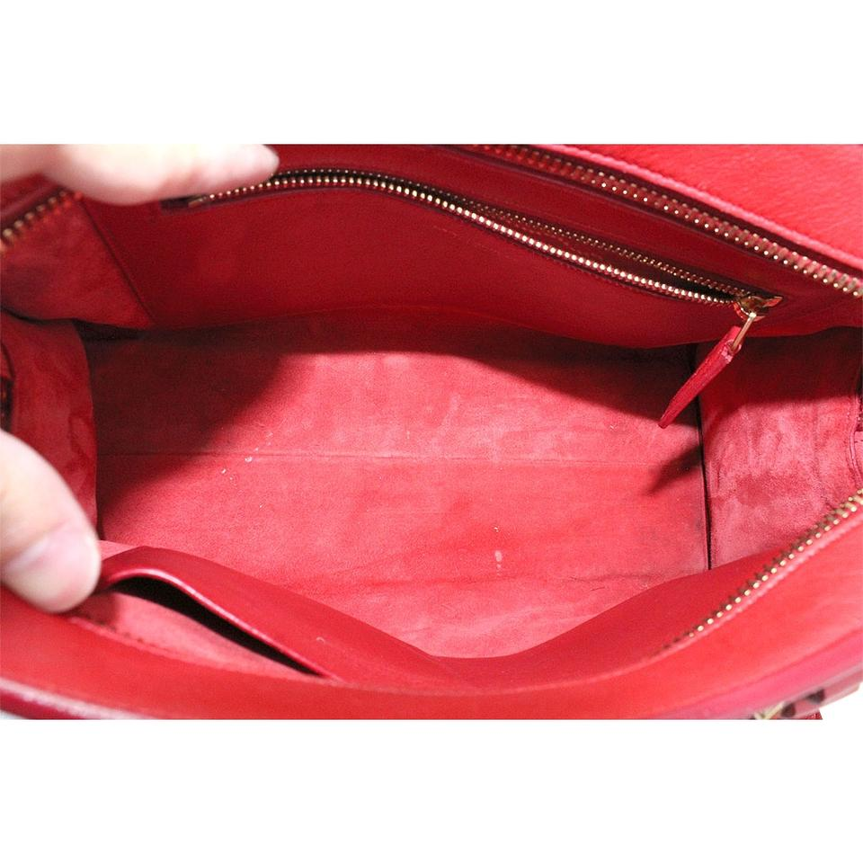 Saint Laurent Yves Leather Satchel in Red Image 11. 123456789101112 489880315056c