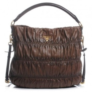 Prada Leather Gaufre Ruched Hobo Bag