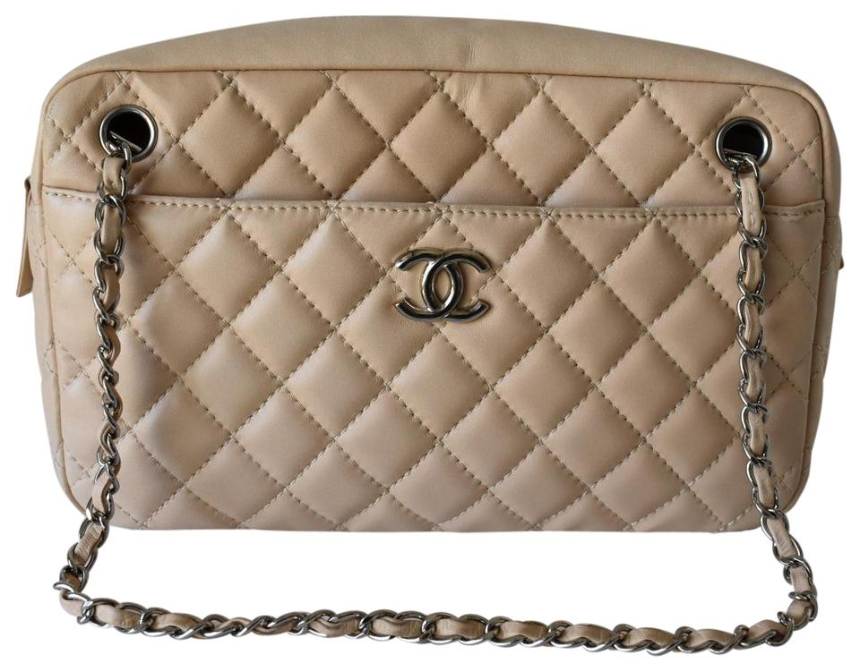 37ced37e2bd9d6 Chanel Camera Cruise Light Beige with Shiny Silver Hardware Lambskin  Leather Shoulder Bag