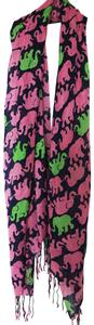 Lilly Pulitzer Murfee Scarf Tusk In Sun Cashmere Silk Pink Green