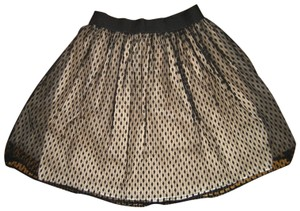 bebe Lace Mesh Tulle Mini Circle Mini Skirt Black Nude