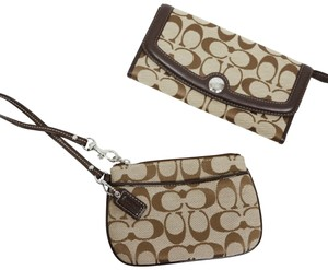 Coach Coach brown c print wallet & wristlet