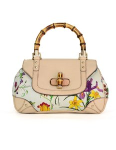 Gucci Top Handle Bamboo Fl Tote In Beige
