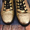 Gucci Gold Black Glitter Sneakers Size US 7 Regular (M, B) Gucci Gold Black Glitter Sneakers Size US 7 Regular (M, B) Image 3