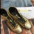 Gucci Gold Black Glitter Sneakers Size US 7 Regular (M, B) Gucci Gold Black Glitter Sneakers Size US 7 Regular (M, B) Image 4