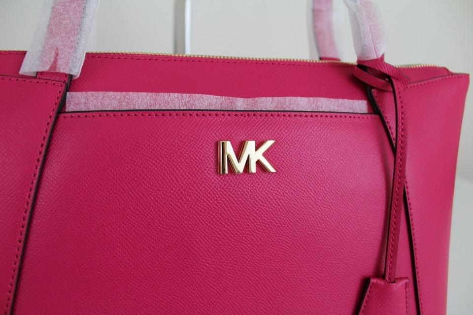 4ac2ba69faf8 Michael Kors Maddie Medium East West Ultra Pink/Gold Leather Tote - Tradesy