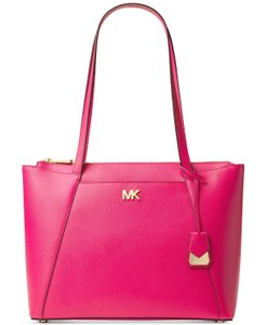 d5cef44a2f03 Michael Kors Maddie Medium East West Ultra Pink Gold Leather Tote ...