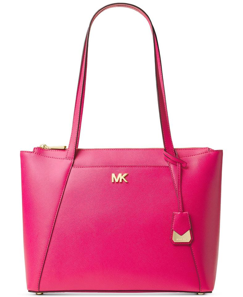 37118c559c01 Michael Kors Maddie Medium East West Ultra Pink/Gold Leather Tote ...