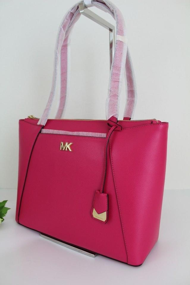 Michael Kors Maddie Medium East West Ultra Pink Gold Leather Tote ... 4a3517c2441fc