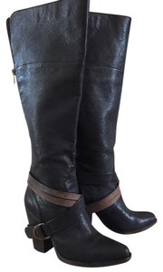 Steve Madden Black with brown heel and strap Boots