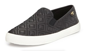 Tory Burch Quilted Slip On Sneakers Black Flats