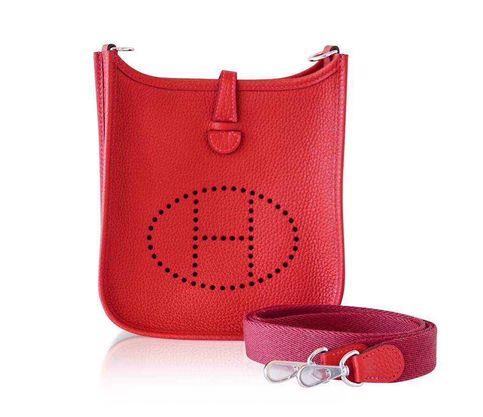 Hermès Evelyne Mini Rouge Casaque Clemence Palladium Tpm Red Leather ... 852218c37