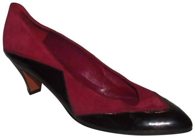 Item - Black Patent Leather and Red Suede Vintage Shoes/Designer Pumps Size US 7.5 Narrow (Aa, N)
